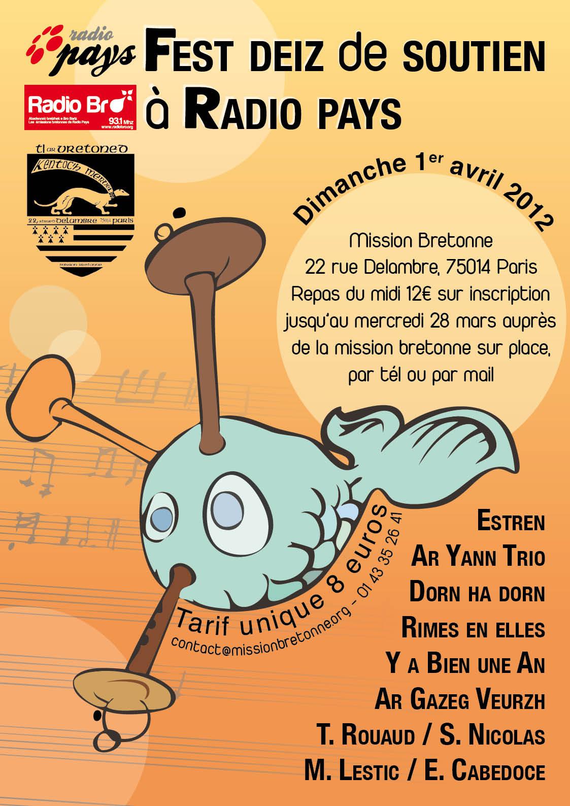 Fest-deiz de soutien à Radio Bro dimanche 1er avril à la Mission bretonne Ti ar Vretoned à Paris