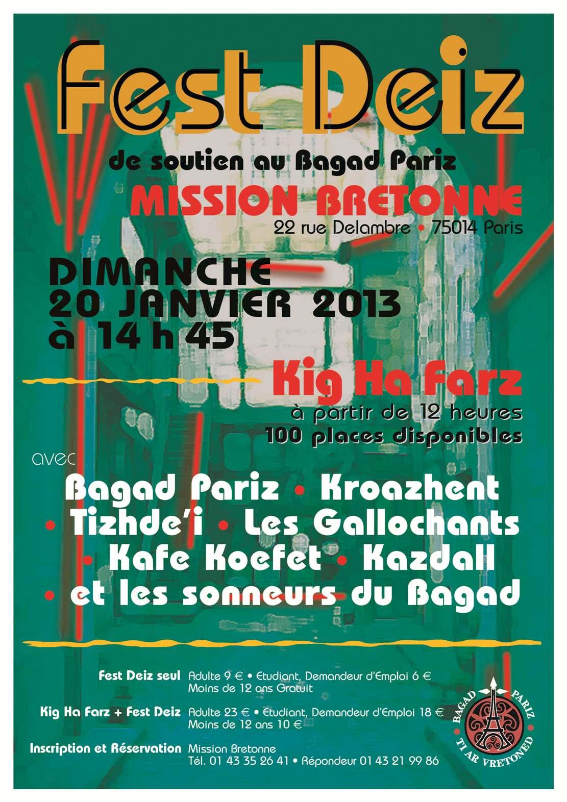 Fest-deiz Bagad Pariz à la Mission bretonne Ti ar Vretoned le 20 janvier 2013 à Paris
