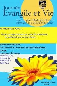 Affiche Evangile et Vie avril 2013